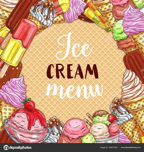 menu de helados boceto cartel en textura de galleta