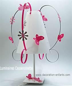 Lampe Chambre Fille : lampe fille grise et rose papillons fabrique casse noisette ~ Preciouscoupons.com Idées de Décoration