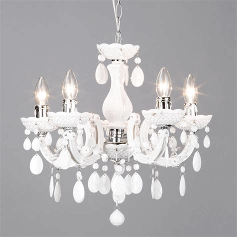 Contemporary White Chandelier by Therese 5 Light Dual Mount Chandelier White From