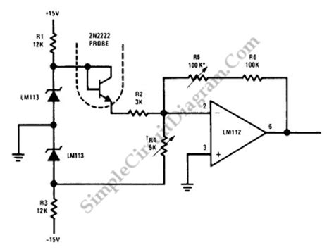Transistor Temperature Sensor Simple Circuit