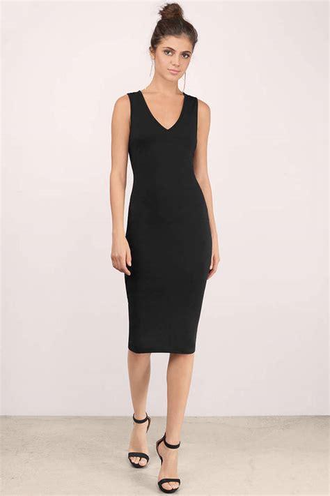 sexy black midi dress plunging dress black dress