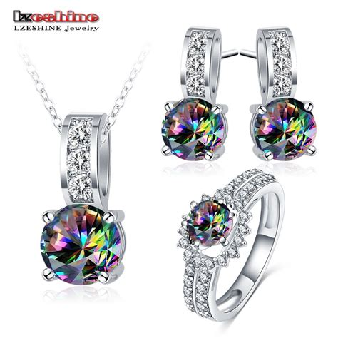 lzeshine wholesale cheap jewelry for rainbow color cz engagement ring pendant earrings