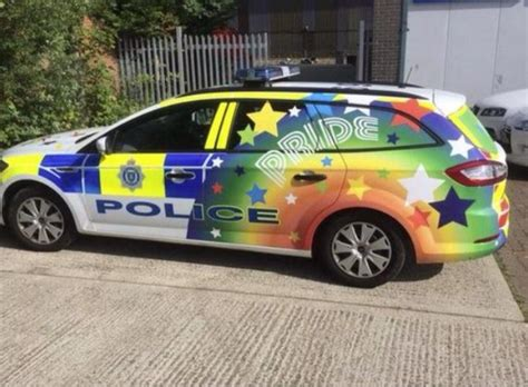 rainbow cars police stick two fingers to rainbow car haters by getting