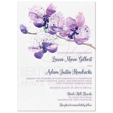 pretty purple pink watercolor orchid wedding invitation