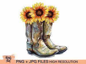 Sublimation Designs Free Cowgirl Boots Png Cowgirl Boots With Sunflowers