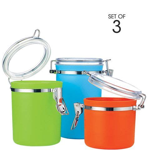 colorful kitchen canisters sets 3 piece colorful canister set brighten up your kitchen with this 3 piece canister set airtight