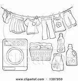 Laundry Washing Clothes Line Basket Machine Clip Drying Illustration Clipart Air Detergent Lineart Clothesline Dryer Washer Vector Royalty Pages Template sketch template