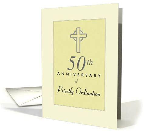 priest 50th anniversary of ordination yellow with cross card crosses yellow and 50th anniversary