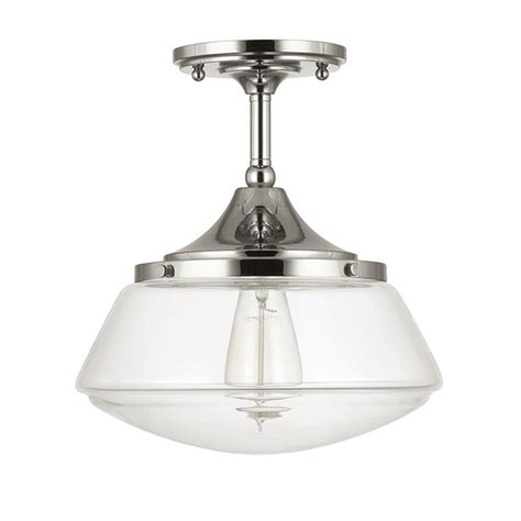 Schoolhouse Flush Mount Lighting by Home Decorators Collection 1 Light Polished Nickel Vintage