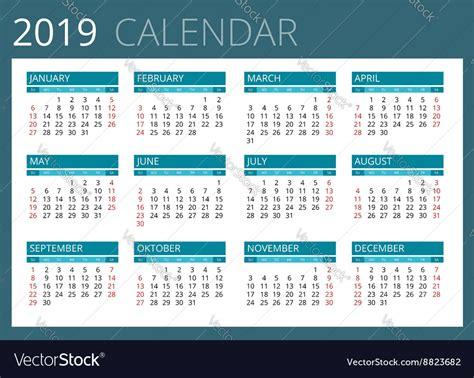 calendar week starts sunday simple vector image