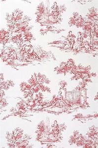 Toile De Jouy : papier peint toile de jouy blanc rouge papier peint des ann es 70 ~ Teatrodelosmanantiales.com Idées de Décoration