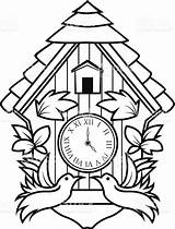 Clock Cuckoo Coloring Grandfather Vector Ornamental Clip Illustration Pages Printable Drawing Digital Illustrations Getcolorings Decoration Istockphoto sketch template