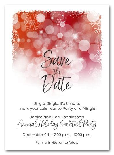 white snowflakes  red holiday christmas party save