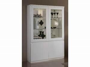 Vitrine Blanc Laqué : vitrine 2 portes roma laqu blanc ~ Teatrodelosmanantiales.com Idées de Décoration