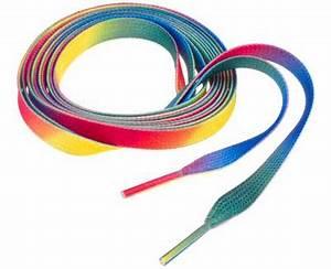 Bright Neon Tie Dye Rainbow Multi Colored Shoe String