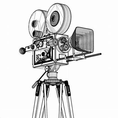 Camera Film Cinema Sketch Coloring Movies Turbosquid