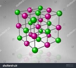 Crystalline Structure Model Sodium Chloride Molecule Stock