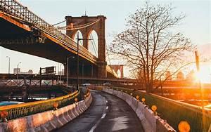 Landscape, Bridge, Sunlight, Road, New, York, City, Urban