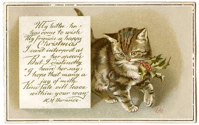 vintage christmas image kitty  holly gift tags
