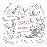Wok Doodle Outline Drawn Restaurant Elements Asian Dell Asiatique Mano Alimento Insieme Asiatico Het Vectors Getrokken Nehmen Weg Muster Nahtloses sketch template