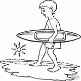 Coloring Pages Boy Surfer Printable Surfing Surf Board Paper Through Drawing sketch template