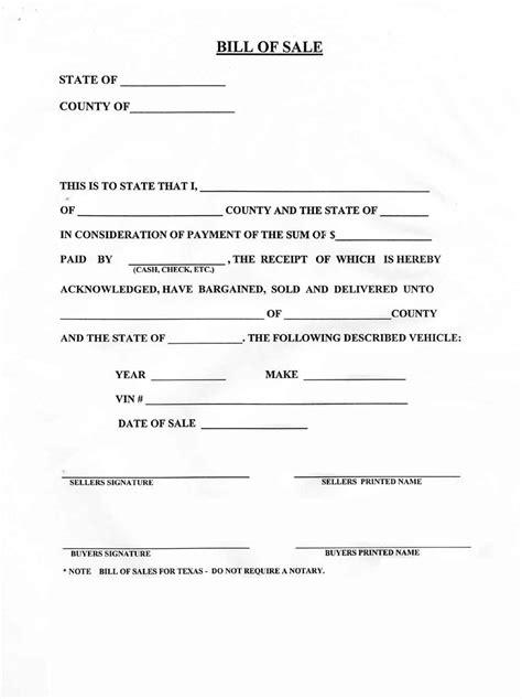 bill  sale  printable documents