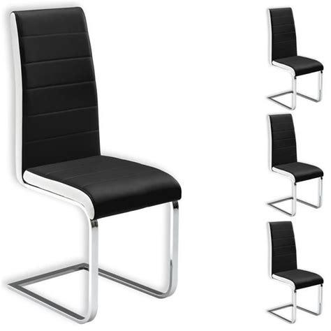 lot de 4 chaises simili cuir noir blanc achat vente chaise noir cdiscount