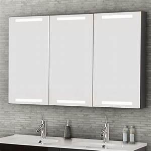 Spiegelschrank 3 Türig Mit Beleuchtung : dansani luna spiegelschrank mit integrierter beleuchtung oben und u ~ Bigdaddyawards.com Haus und Dekorationen