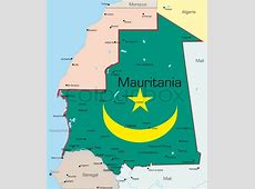 Abstract vector color map of Mauritania country colored by