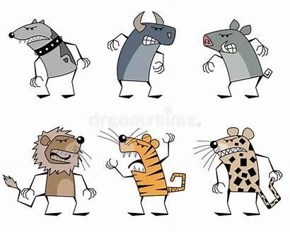Animals Six Strange Illustration Cartoon Vector Silhouettes