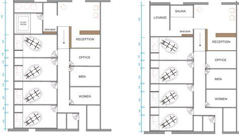 Floating center plan layout