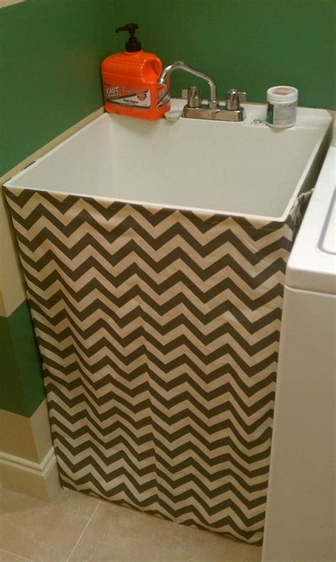 chevron utility sink skirt beautiful home laundry
