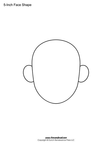 blank face templates printable face shapes  kids