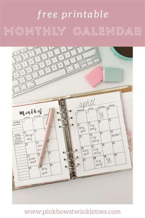 monthly calendar  printable planner insert budget