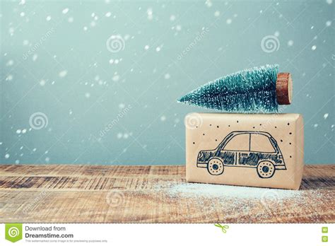box auto dwg gift box with car drawing and pine tree