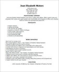 resume templates for pediatrician professional pediatric assistant templates to showcase your talent myperfectresume