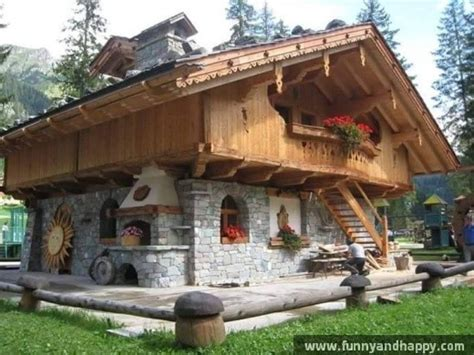 Refer Wood And Stone House  Funny Images