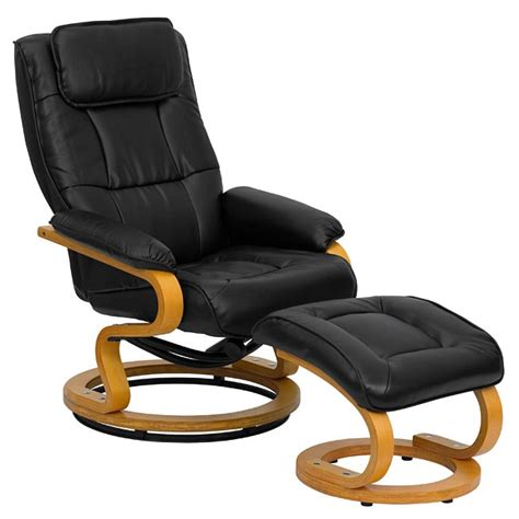 contemporary black leather recliner and ottoman free