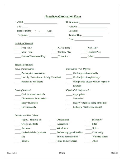 3 preschool observation forms pdf doc 794 | Preschool Observation Form Sample 1