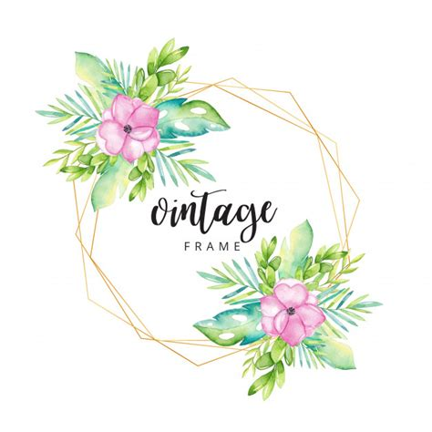 Watercolor floral frame with gold border Vector Premium