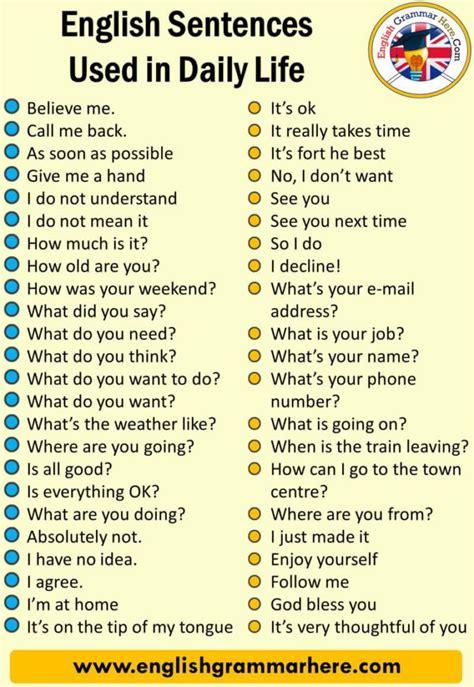 english sentences   daily life english grammar