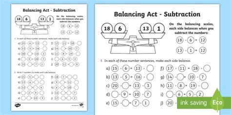 ks1 balancing act subtraction worksheet worksheet balancing equations