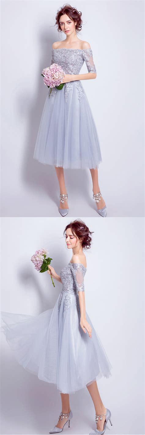 Gray lace off shoulder tea length homecoming dress with ...