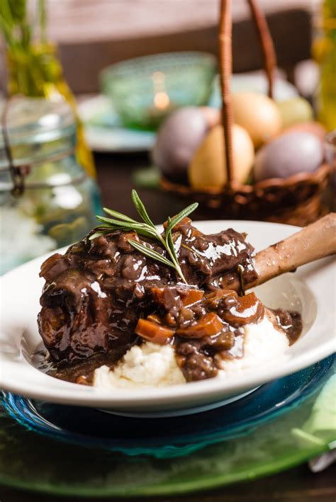 slow cooker braised lamb shanks  red wine everyday