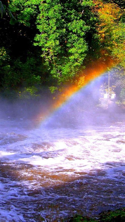 瀑布彩虹高清手机桌面壁纸_风景壁纸_手机壁纸_91主题之家