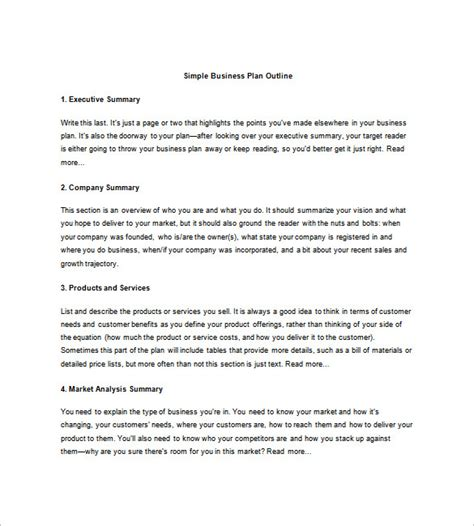 Business Plan Outline Template  21+ Free Sample, Example