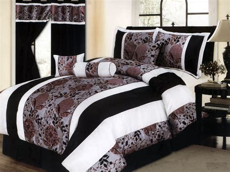 7-pc Satin Striped Flocking Cascade Floral Comforter Set