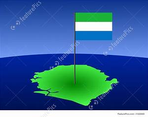 Illustration Of Map Of Sierra Leone With Flag