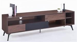 meuble tv bois massif marron 3 tiroirs kapa lestendancesfr With meuble noyer