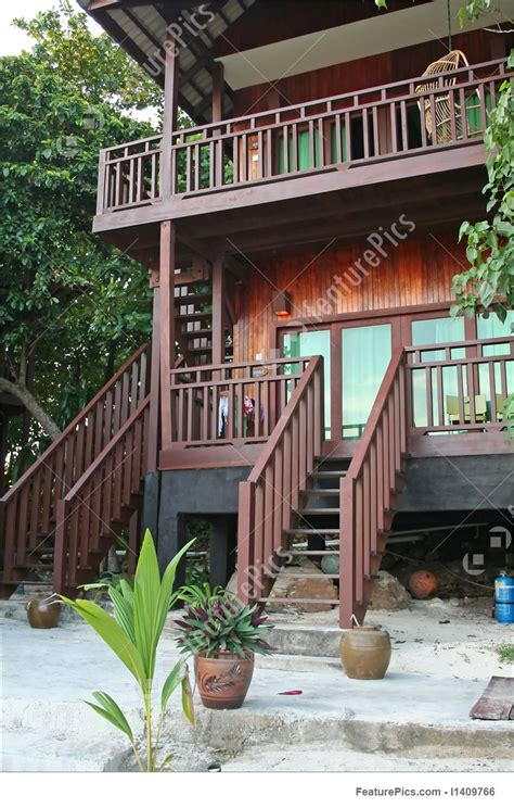 tropical beach house stock photo   featurepics